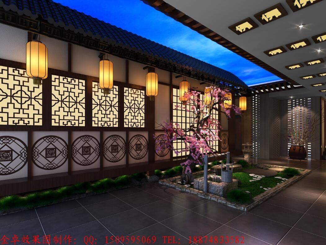 中式餐厅效果图设计门头