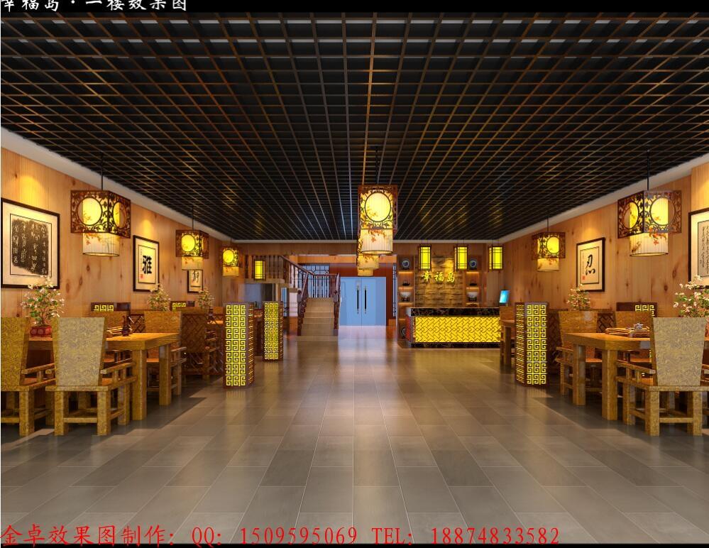 中式餐厅效果图设计大厅