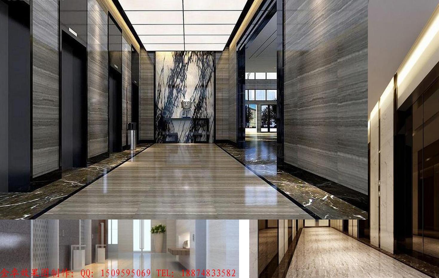 电梯间装修效果图-效果图制作公司