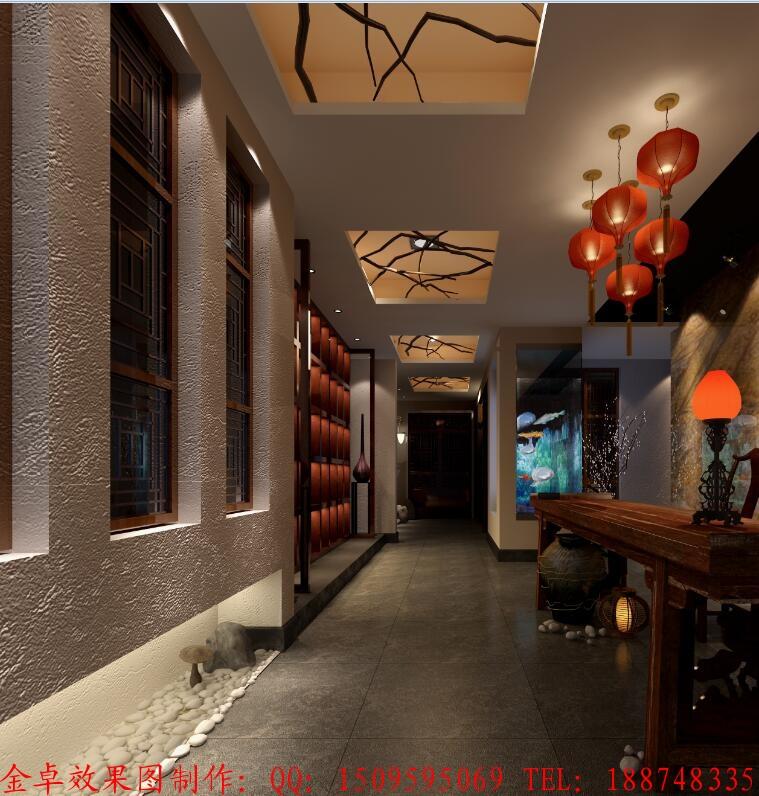 中式餐厅效果图设计过道